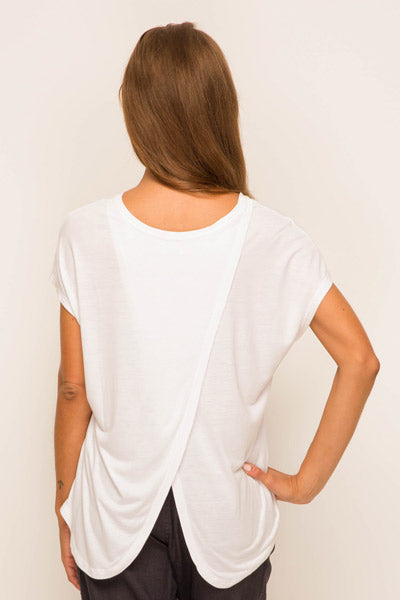 Ladies Tulip Back T-shirt White - By The Sea Bali