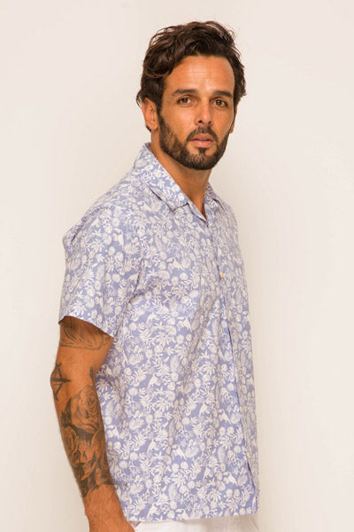 Bali Tropical Shirt S/S Blue - By The Sea Bali