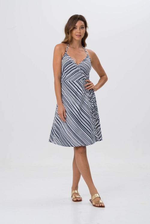 By The Sea Bali Ladies Wrap Dress Navy