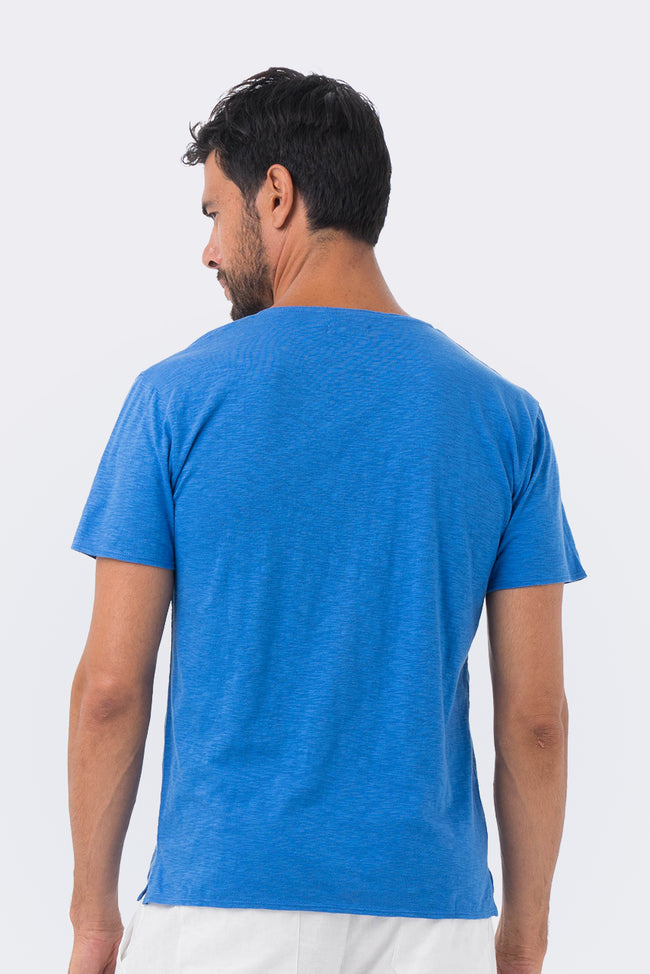 Basic T-shirt V-neck Blue - By The Sea Bali