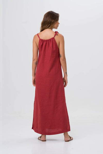 Tie Linen Maxi Dress Red