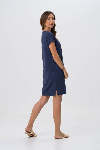 Jersey v-neck short dress Navy