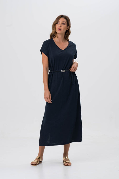 By The Sea Bali Jersey v-neck maxi dress Navy