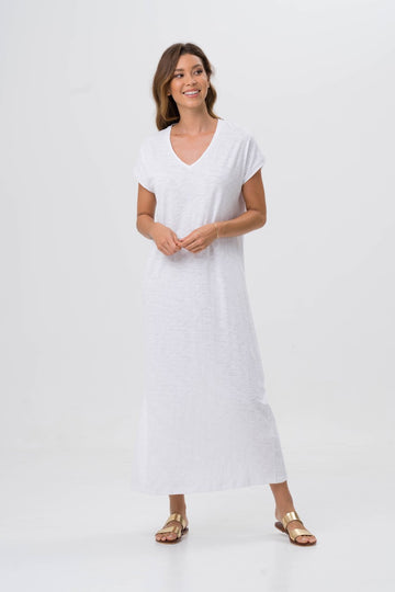 By The Sea Bali Jersey v-neck maxi dress White