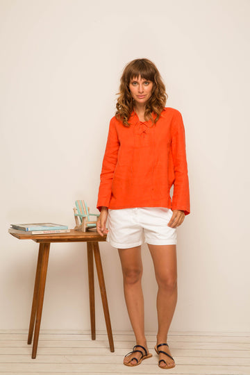 Plaka Lace Linen Shirt Coral - By The Sea Bali