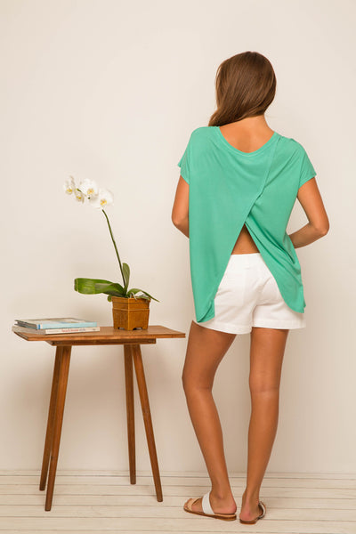 Ladies Tulip Back T-shirt Green - By The Sea Bali