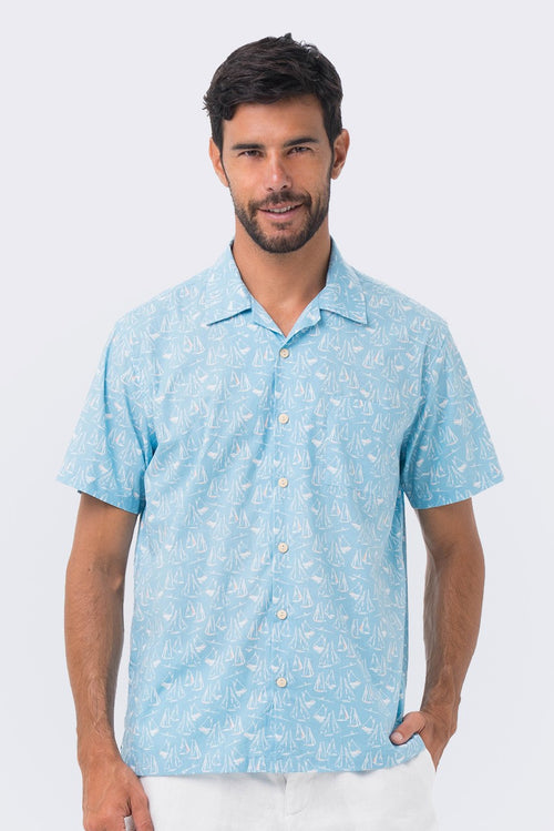 By The Sea Bali Bali Tropical Shirt Blue Sailboat