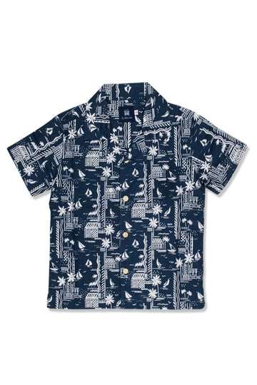 By The Sea Bali Bali Tropical Shirt Navy
