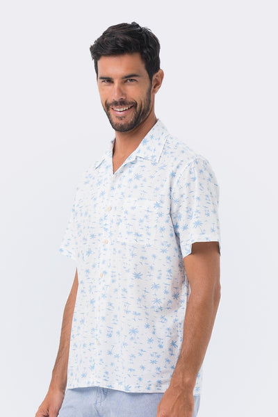 By The Sea Bali Bali Tropical Shirt S/S Blue Coconut