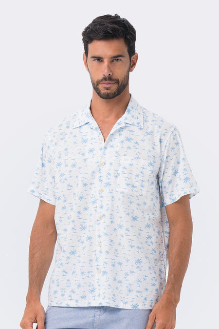 Bali Tropical Shirt S/S Navy Coconut