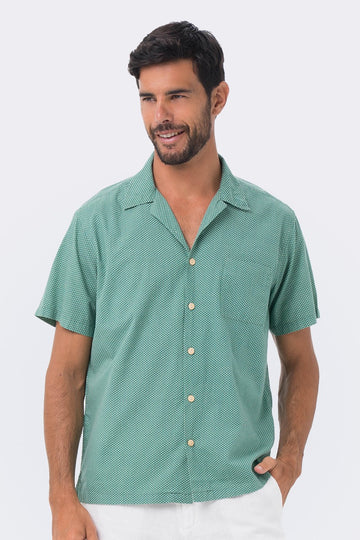 By The Sea Bali Bali Tropical Shirt S/S Green Polka Dot