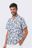 By The Sea Bali Bali Tropical Shirt S/S Navy Tropical Leafs