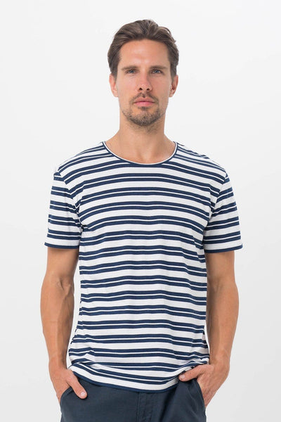 By The Sea Bali Basic Men T-Shirt Dark Blue Stripes