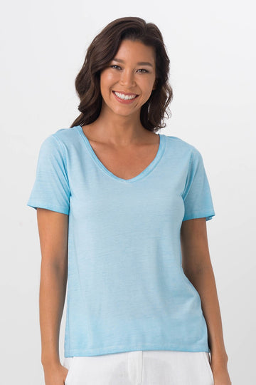 By The Sea Bali Basic V-Neck T-Shirt Light Blue