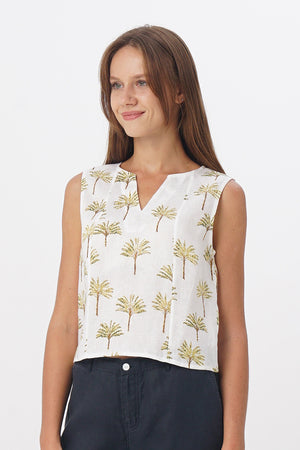 Saleo Linen Crop Top