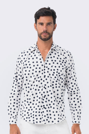 By The Sea Bali Classic Shirt Long Sleeve Navy Polka Dot