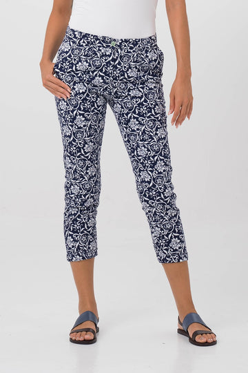 By The Sea Bali Cigarette Floral Pants Navy