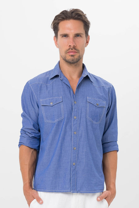 Basic Men Shirt Blue Stripe