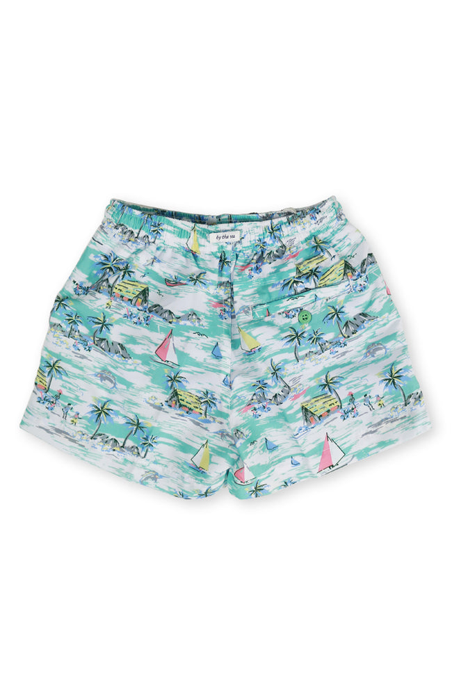 Kids Swimtrunk Green Sailboat