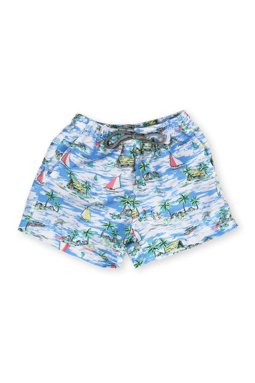 Kids Swimtrunk Blue Sailboat