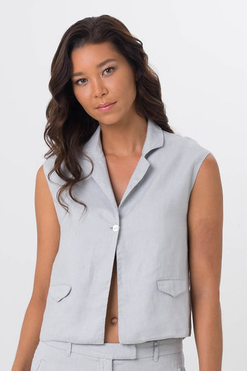 By The Sea Bali Hamptons Sleeveless Blazer Grey