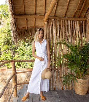 Sunniva Maxi Linen Shirt Dress