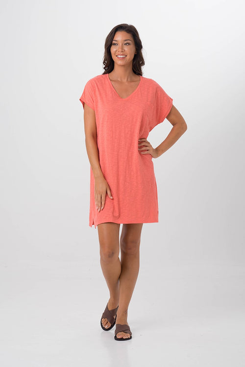 By The Sea Bali Jersey v-neck short dress Coral