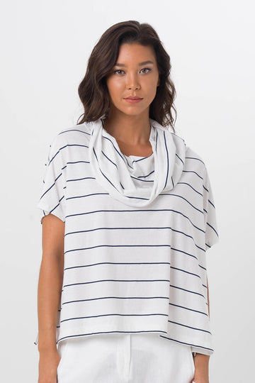 By The Sea Bali Kanoya Cowl Neck T-Shirt White