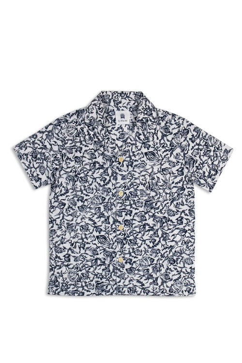 By The Sea Bali Kid's  Bali Tropical Shirt S/S Navy