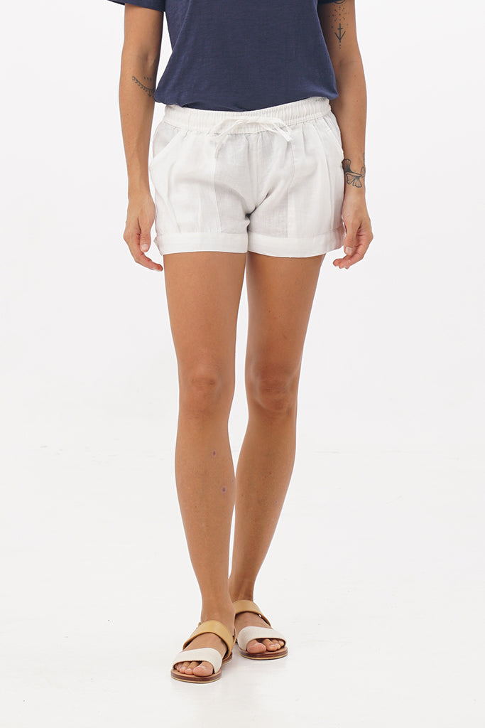 Ladies Linen Elastic Shorts - By The Sea Bali