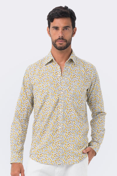 By The Sea Bali Liberty Flower Shirt L/S Khaki