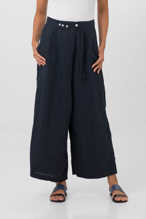 By The Sea Bali Linen Wrap Crop Pants Navy