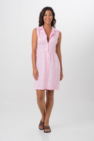 By The Sea Bali Lapel Linen Shirt Dress Pink