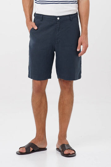 By The Sea Bali Linen Bermuda Navy
