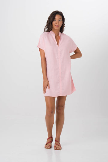 By The Sea Bali Linen Drika Tunic Pink