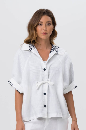 By The Sea Bali Linen Maresias Jacket White