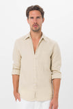 By The Sea Bali Men Linen Shirt L/S Camel