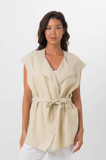 By The Sea Bali Linen Summer Outer Camel