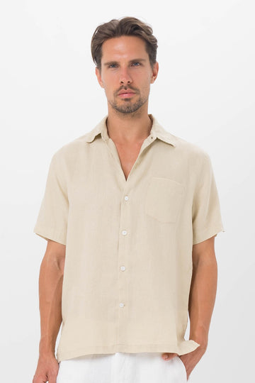 By The Sea Bali Maui Linen Shirt S/S Camel