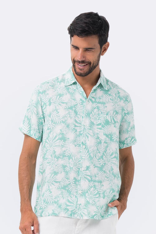 By The Sea Bali Maui Linen Shirt S/S Green Tropical Leafs