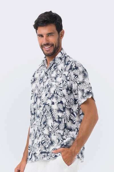 By The Sea Bali Maui Linen Shirt S/S Navy Tropical Leafs