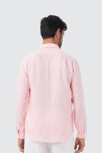 By The Sea Bali Men Linen Shirt L/S Pink