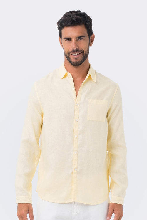 By The Sea Bali Men Linen Shirt L/S Yellow