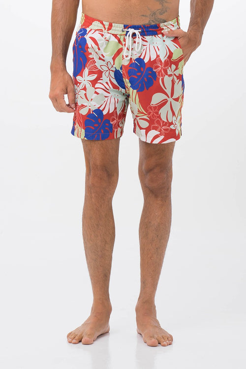 By The Sea Bali Men's Swimming Trunk Grey Tropical Leaves