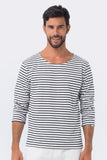 By The Sea Bali Men's T-Shirt L/S Navy Stripe