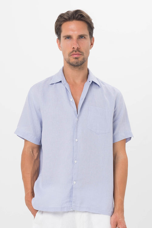By The Sea Bali Maui Linen Shirt S/S Blue