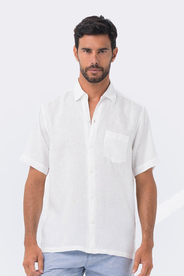 By The Sea Bali Maui Linen Shirt S/S White