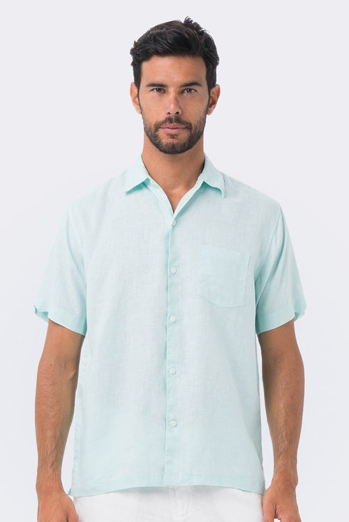 By The Sea Bali Maui Linen Shirt S/S Green