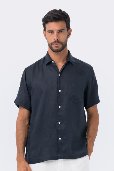 By The Sea Bali Maui Linen Shirt S/S Navy