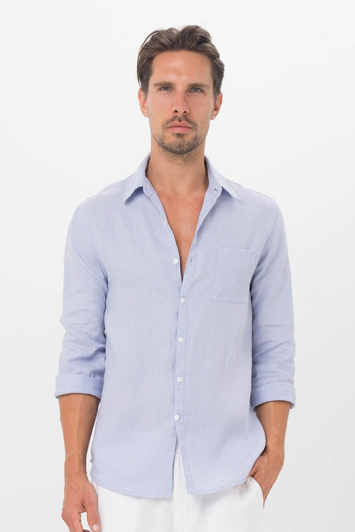 By The Sea Bali Men Linen Shirt L/S Blue